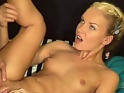Blonde: Tantalizing blonde eagerly sucks and fucks hard cock in bed